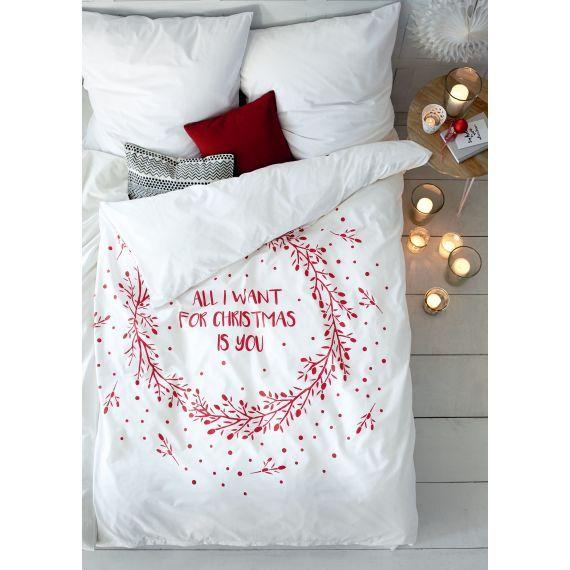 Bettwäsche Weihnachts Print Romantik Look Baumwolle Christmas