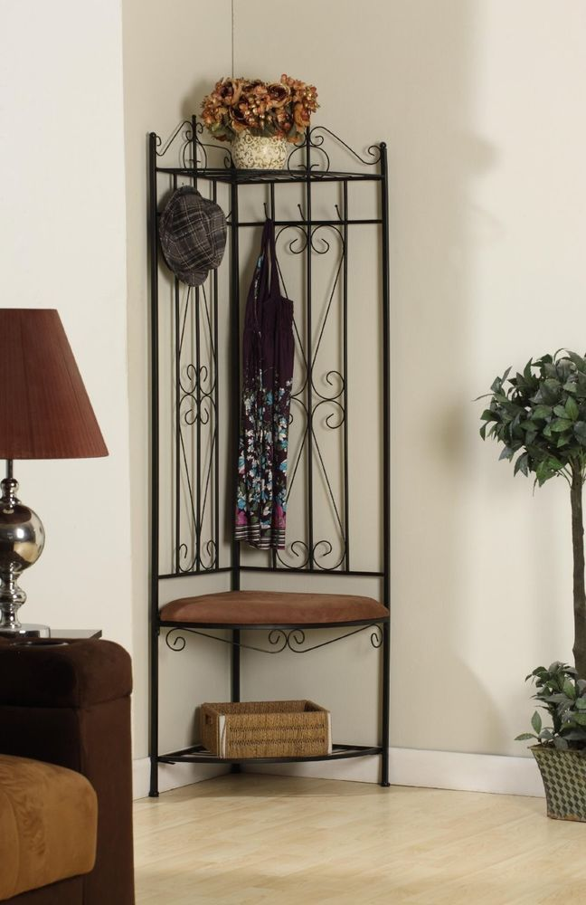 Metal Corner Entryway Hall Tree Coat Rack Stand Home