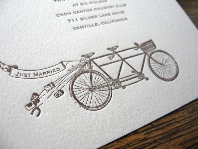 Partecipazioni Matrimonio Bicicletta.6 Invite Inspiration Just Married Tandem Bicycle Modcloth