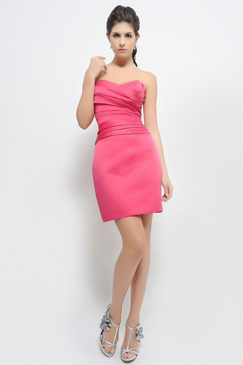 Short and Strapless Hot Pink Bridesmaid Dress | Dress Trends- Bridal ...