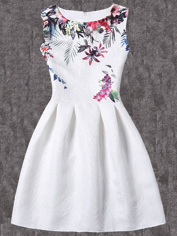 Shop Bloom Print Fit & Flare Dress - White online. SheIn offers Bloom Print Fit & Flare Dress - White & more to fit your fashionable needs.