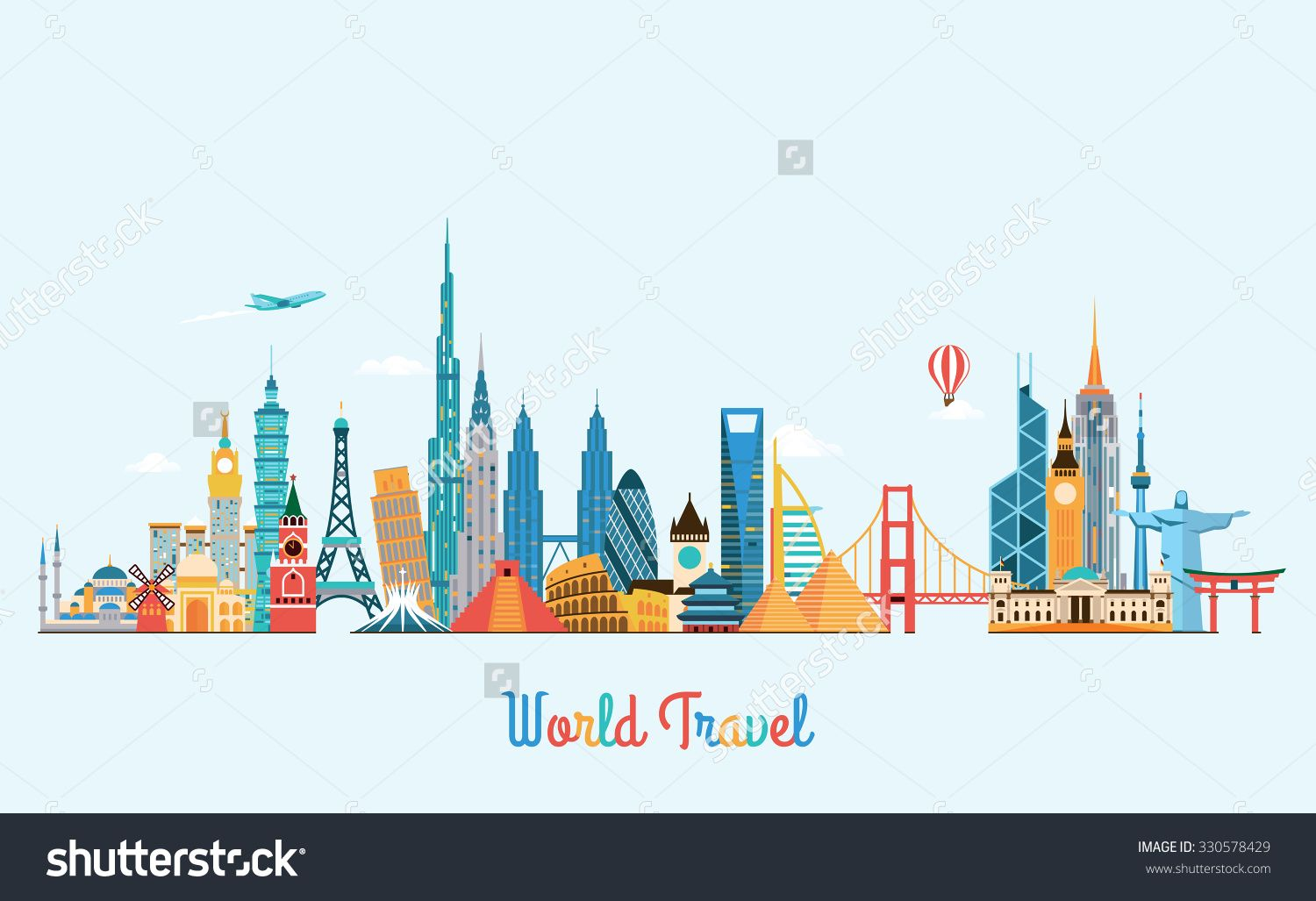 World skyline travel and tourism background vector flat for Best city skylines in the world