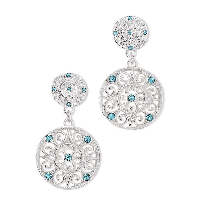 Blue topaz elegance!Silvertone openwork round filigree drop earrings with blue topaz colored stones.Introducing Signature Collection:Effortless style that's totally wearable. Pieces that flatter your shape and fit in comfortably with your lifestyle. That's the heart of Avon's Signature Collection. Designed by Avon. Inspired by you. Meet your new favorite label.Ultimate Challenger Collection: Blue topaz-colored stones adorn this silvertone filigree collection.  AvonRep shirleanwalker