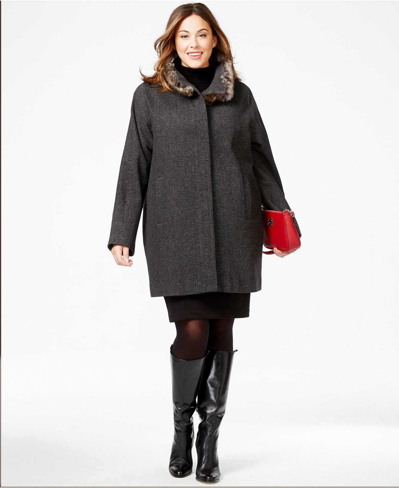 Jones New York Plus Size Faux-Fur-Collar Heathered Coat
