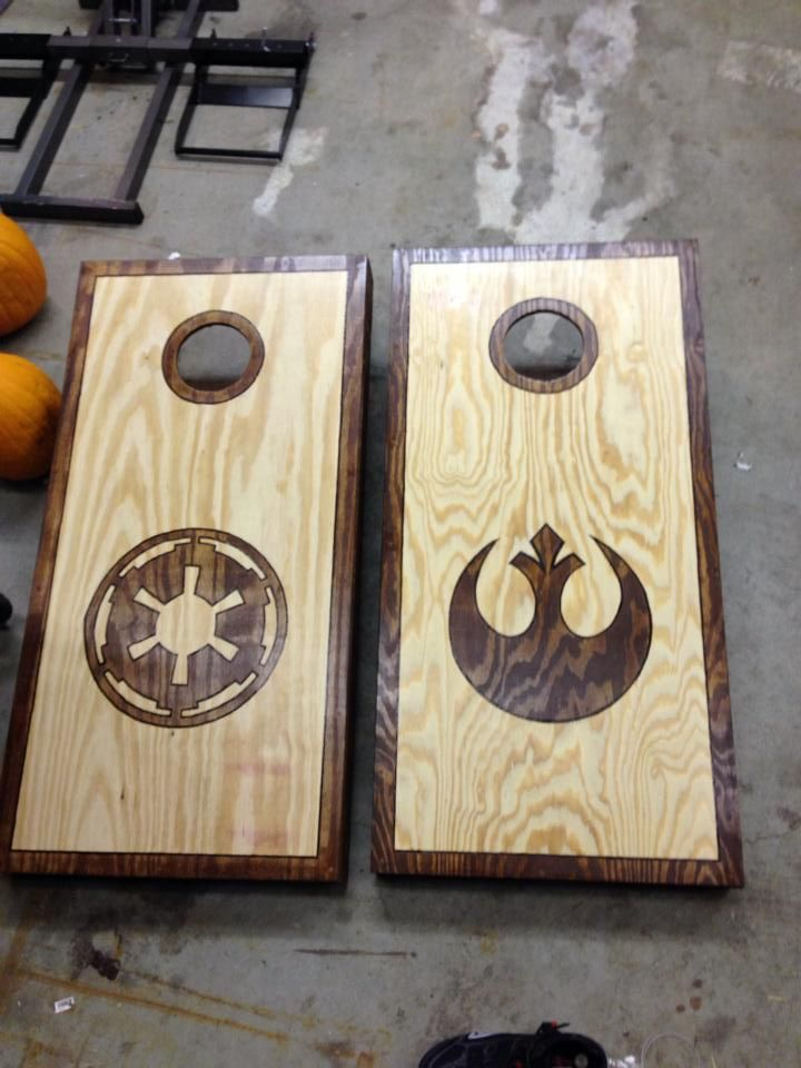 Wooden Corn Hole Game Star wars corn hole wood burned outline then stained 36