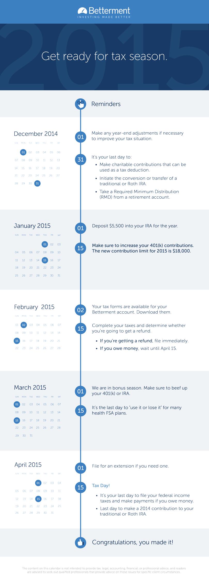 Betterment S 2015 Tax Calendar To Help You Make It Through Tax Season Via Betterment Tax Season Season Calendar Tax Help
