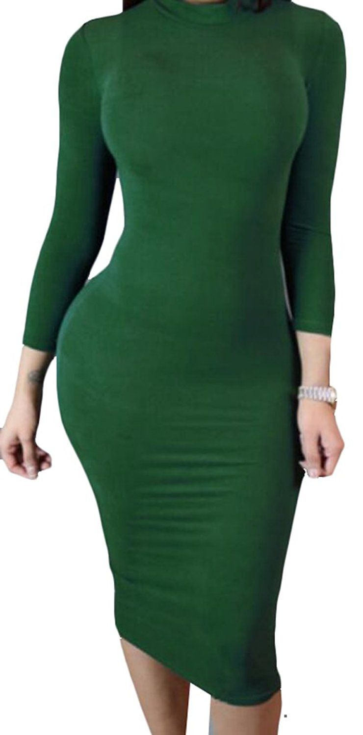 67cb18843c6 LD Womens Solid Color Long Sleeve Sexy Bodycon Club Wear Dress ...