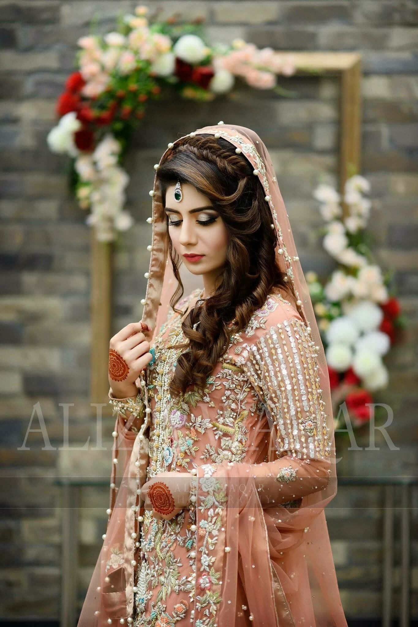 Bridal Maxi Peach Pink With Multi Threds Nagh Zari And Perl Work