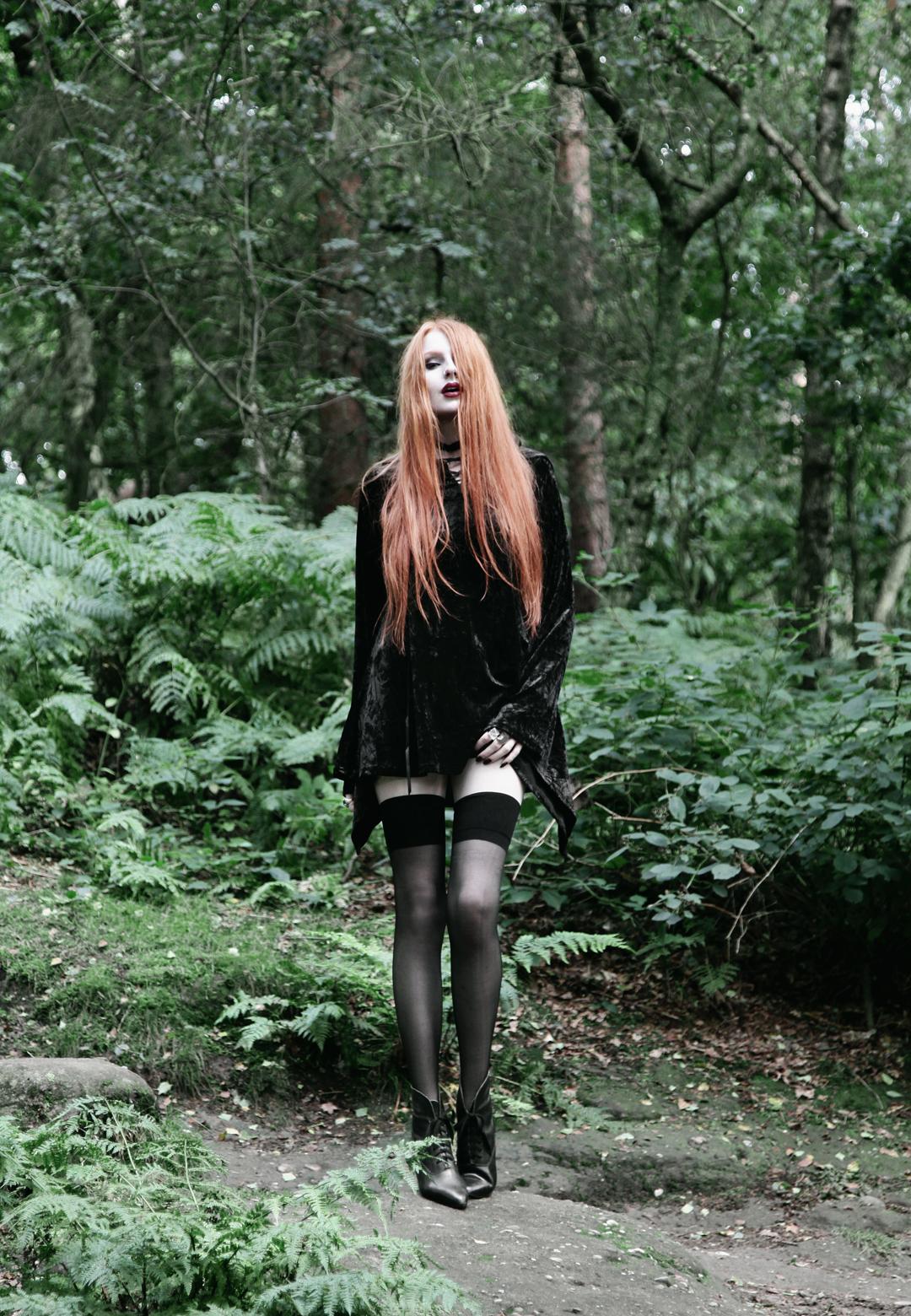 4e7d35533 Olivia Emily wears Kilstar Velvet Witch Hood Dress, Over Knee Stockings and  Vintage Pointed Boots