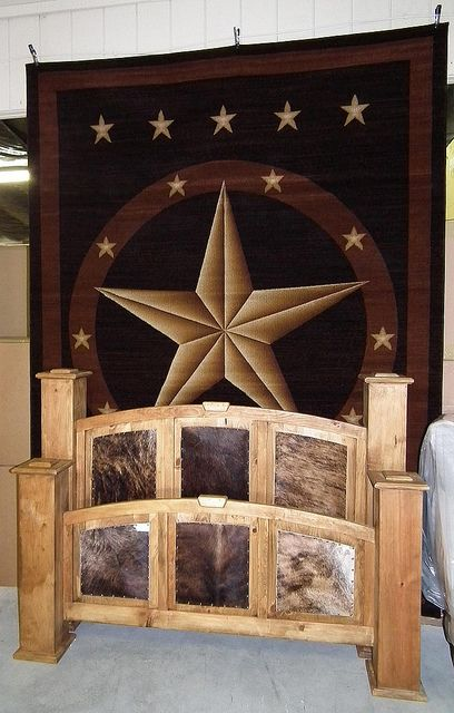 Huge Texas Star Rug U0026 Cowhide Bed By Wild Bills Furniture Store, Via Flickr