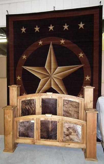 Huge Texas Star Rug U0026 Cowhide Bed By Wild Bills Furniture Store, Via Flickr