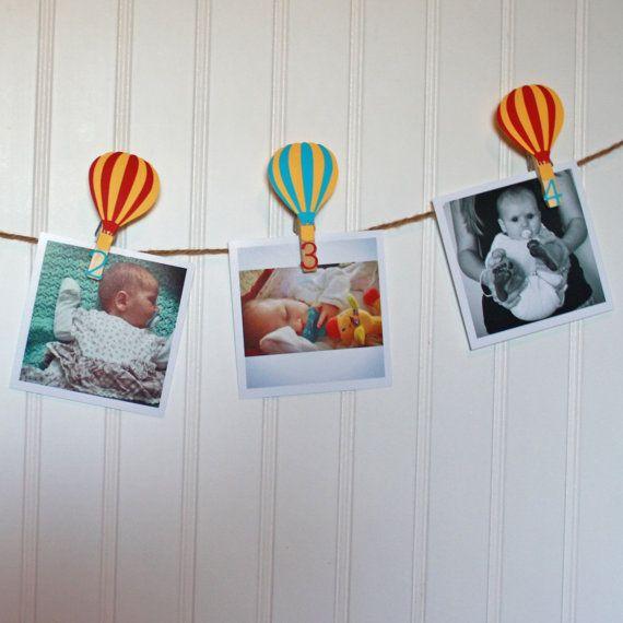 7042da19efd39 Hot Air Balloon First Birthday, Hot Air Balloon Decorations, Monthly ...