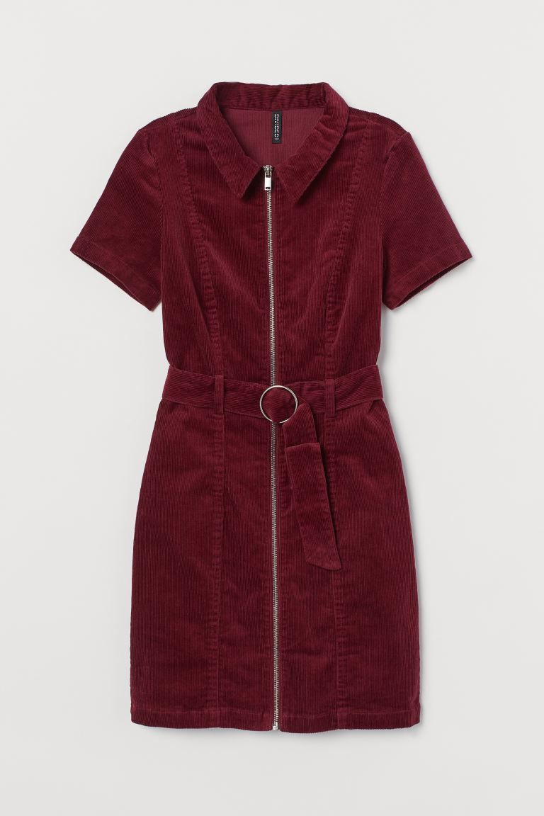 Corduroy Dress Burgundy Ladies H M Us Corduroy Dress Corduroy Womens Shirts [ 1152 x 768 Pixel ]