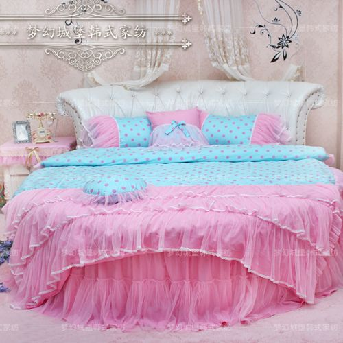 Find More Information About Dream Round Bed Four Piece Bedding Set Princess  Bedding Home Textile Blue