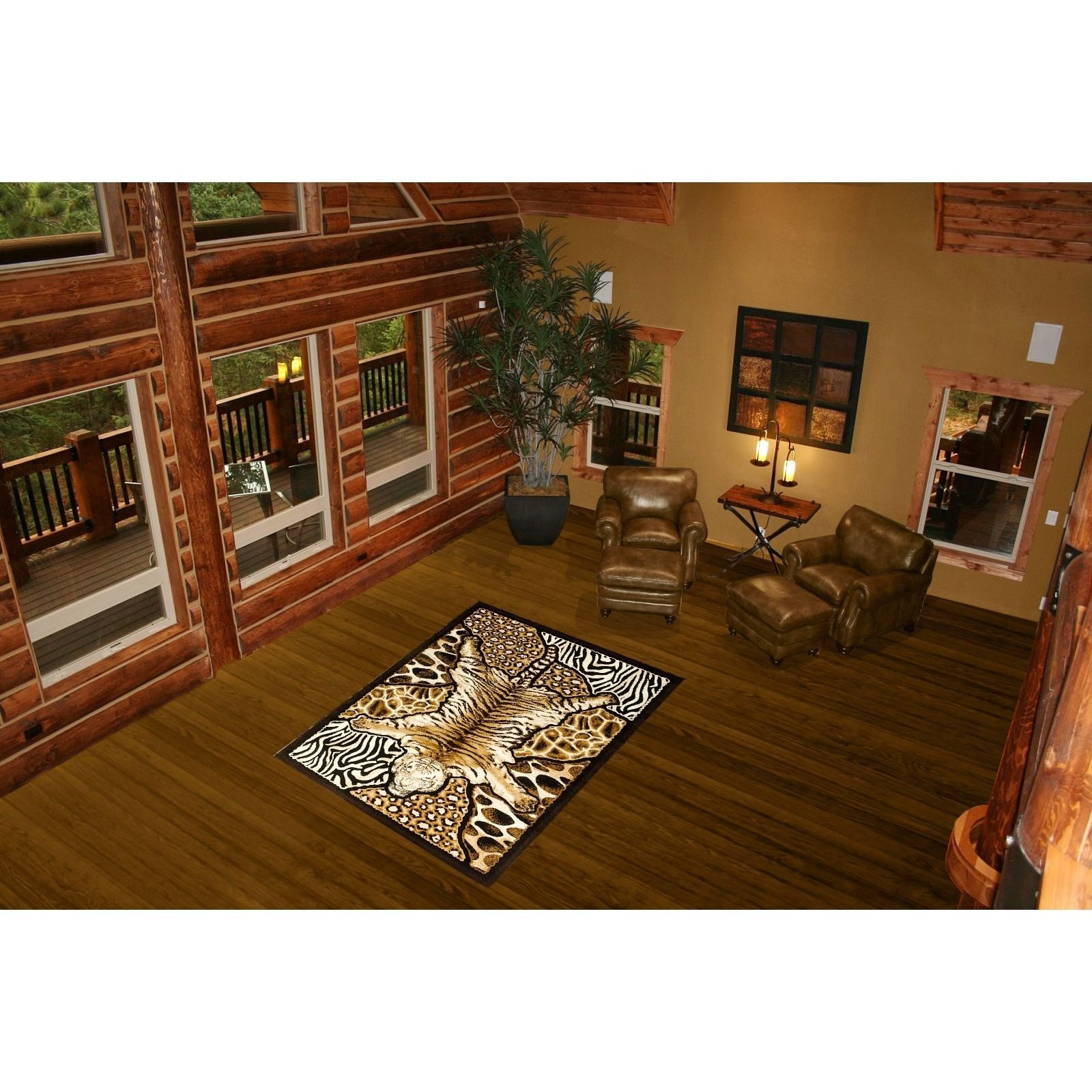 Lyke Home Brown Polyester Exotic Area Rug 5 X 8