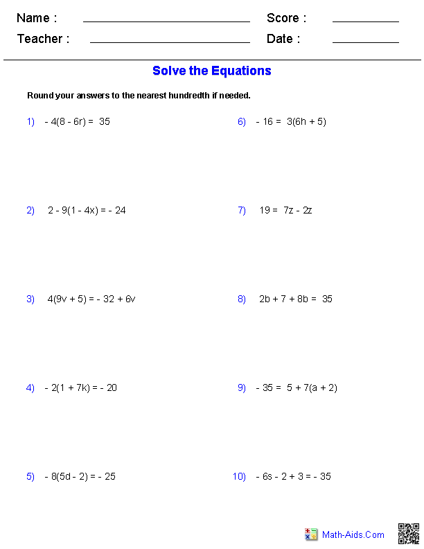 Printables Algebra 1 Linear Equations Worksheets equation and worksheets on pinterest