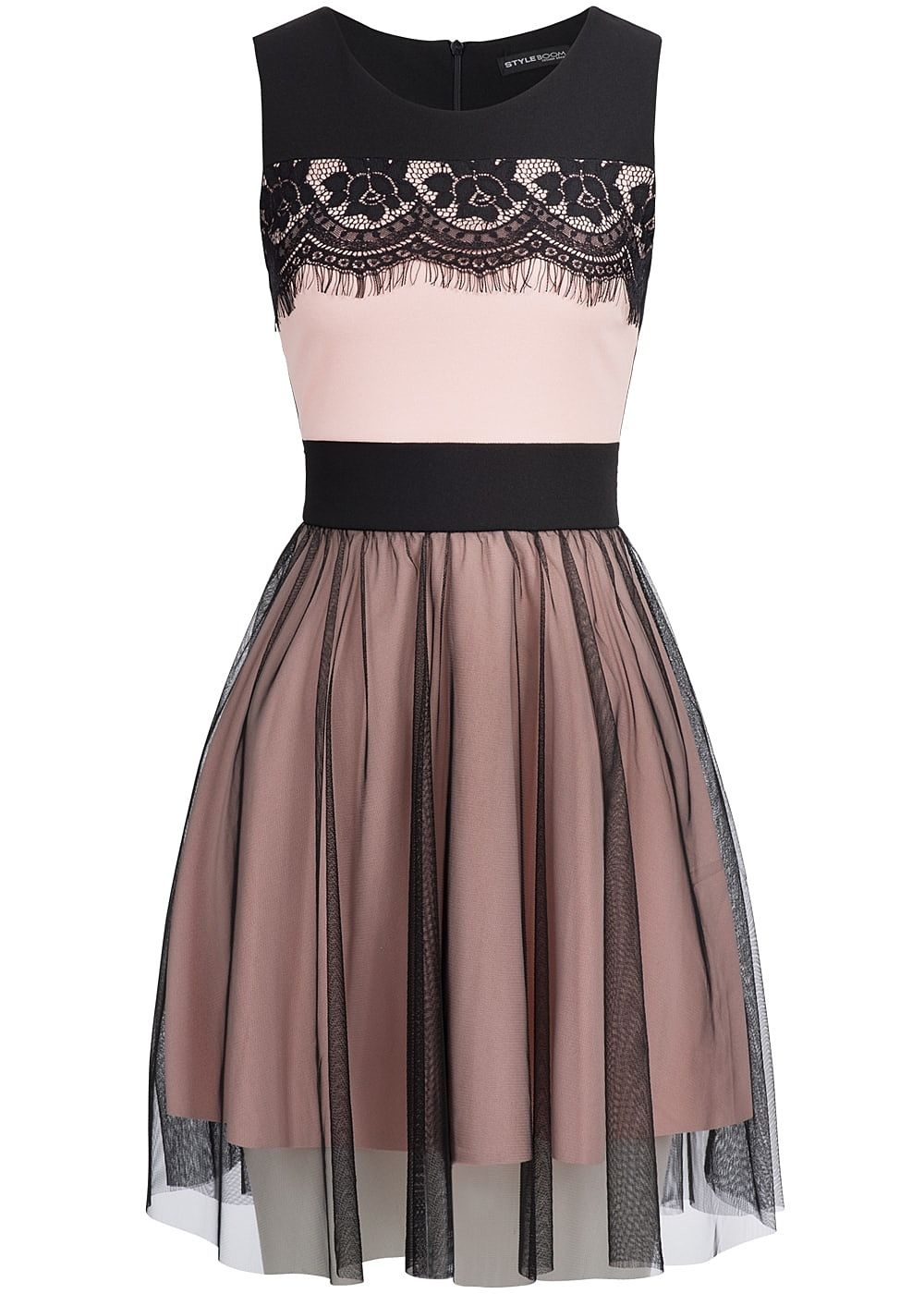 Styleboom Fashion Damen Mini Kleid Spitze Zipper hinten ...