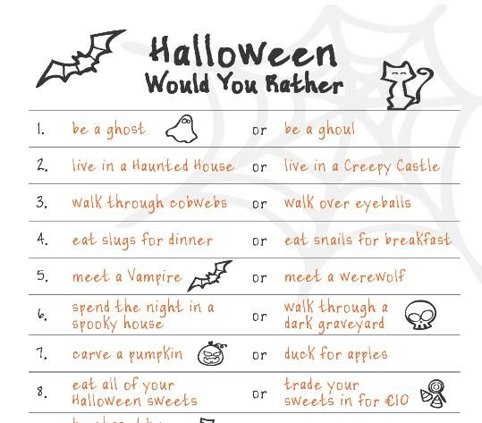 """Fun Downloadable Halloween Game """"Would You Rather"""