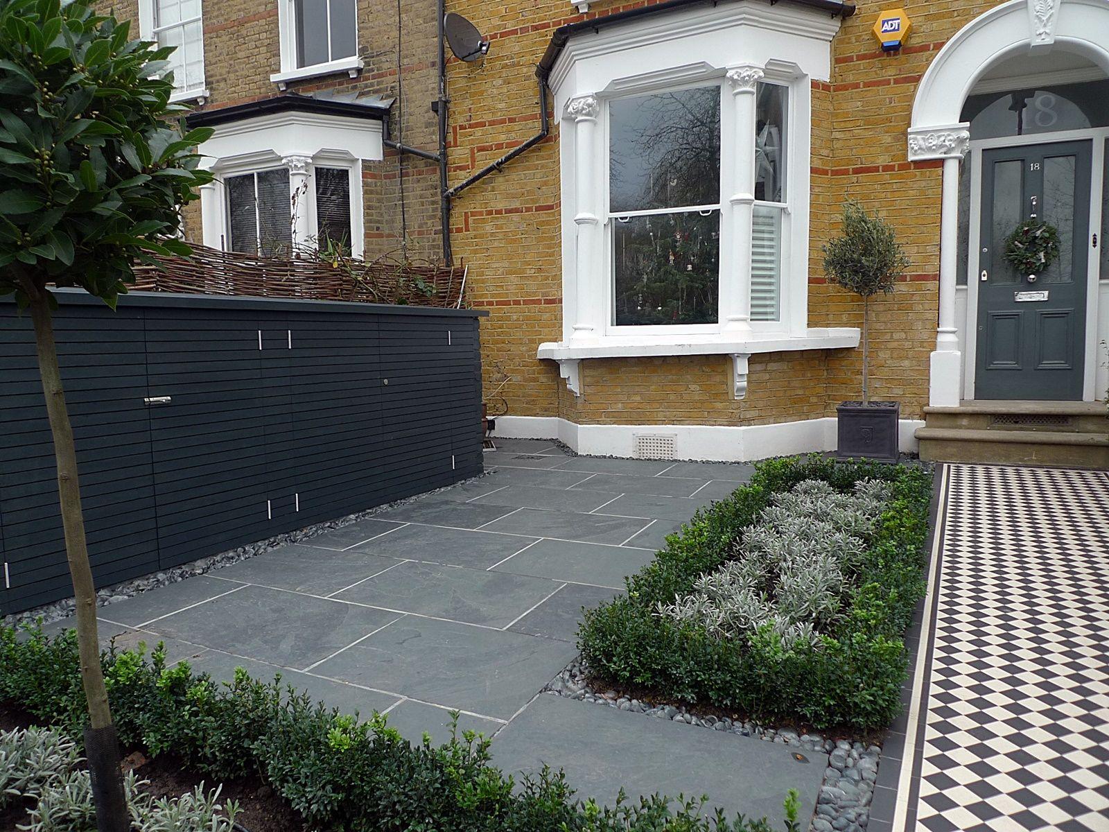 front garden victorian tile topairy bike bin store mosaic black