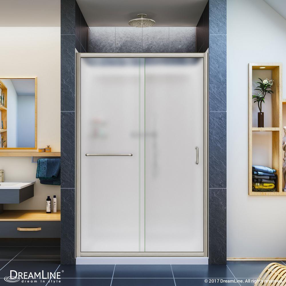 DreamLine Infinity-Z 36 in. x 48 in. Semi-Frameless Sliding Shower Door in Chrome with Center Drain Base and Backwalls, Chrome Finish Hardware; Center #framelessslidingshowerdoors
