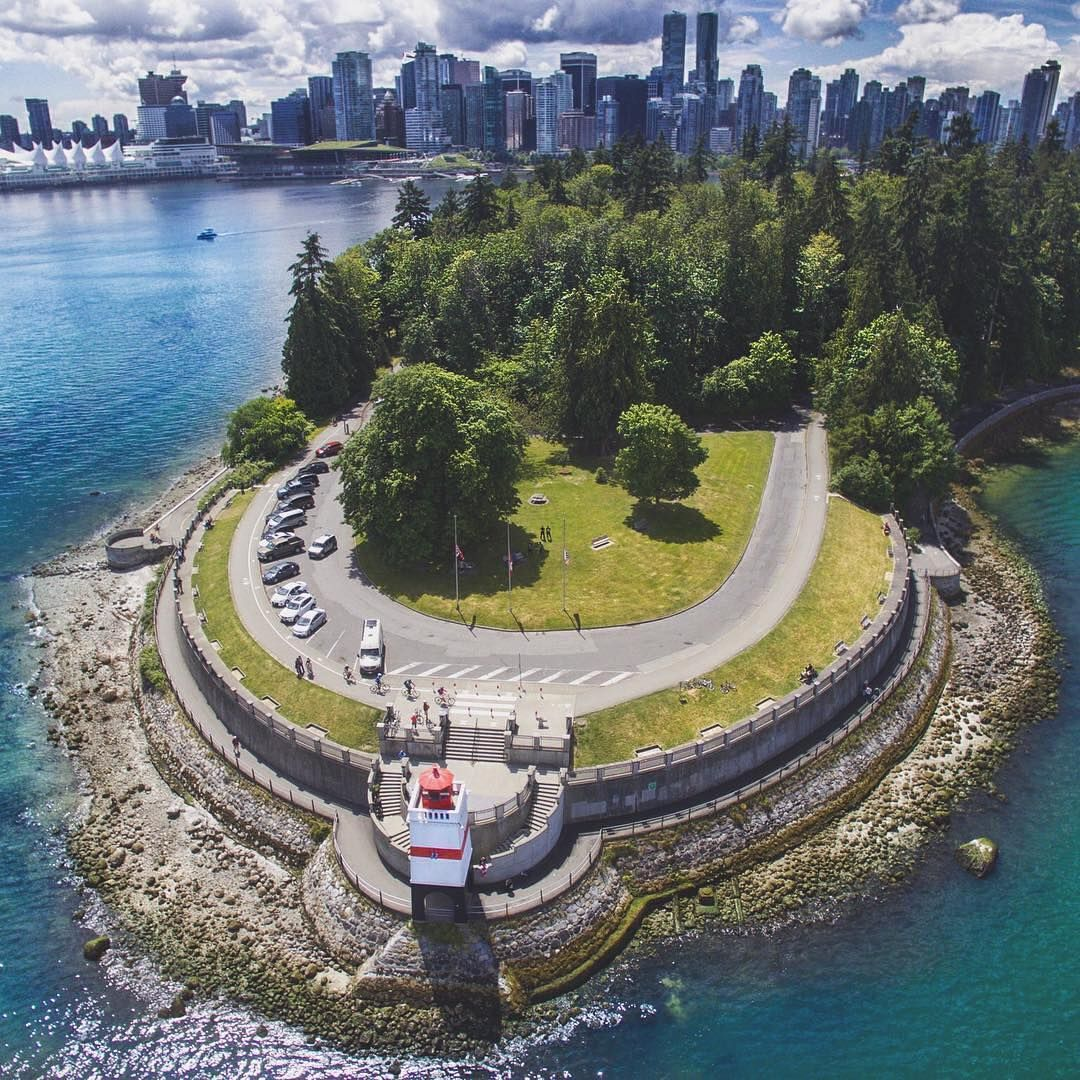 Vancouver Bc Canada: Spectacular Drone Shot Of Stanley Park With Downtown