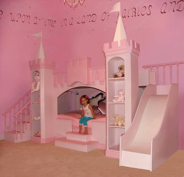 Bed Ideas: Contemporary Kids Pink Princess Bedroom Little Girls Love  Princesses A Custom Girls Princess Castle Bed With Slide And Steps, Pull  Ball Pony, ...