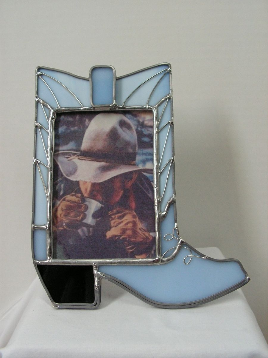 custom made stained glass cowboy boot picture frame in blue opal