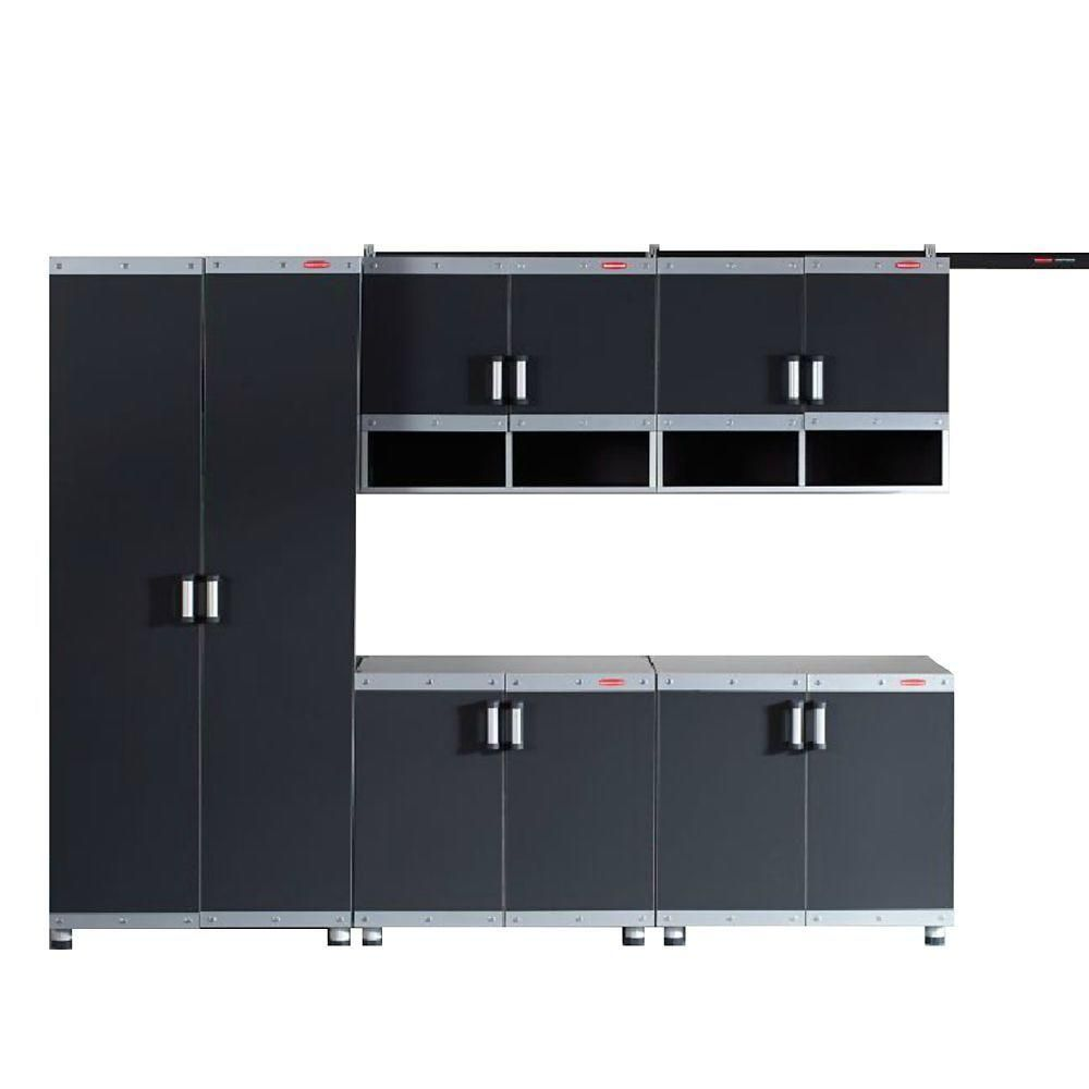 Rubbermaid FastTrack Garage Laminate 5-Piece Cabinet Set in Black/Silver-FTCS10004 - The Home Depot