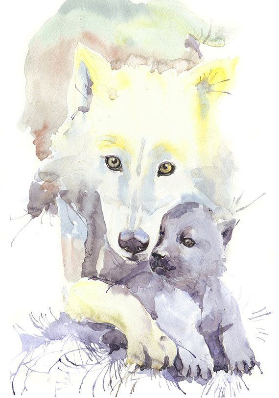 Wolf art, watercolor wolf, wolf family, wolf baby, wall ...