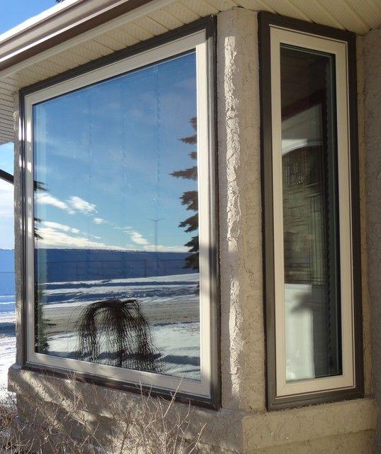 Vinyl Windows Interior White Exterior Two Toned Desert Sand Window Frame Commercial Brown