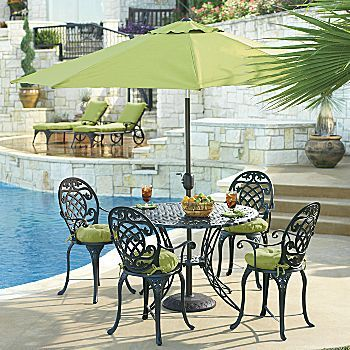 Just Bought This Set Wrought Iron Patio Set With Red Umbrella