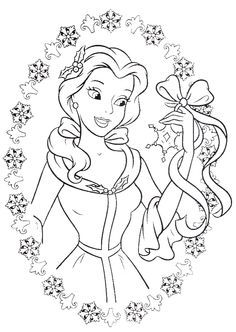 Princess Belle Love To Get Gifts In Christmas Day Coloring Pages Christmas Colorin Rapunzel Coloring Pages Disney Princess Coloring Pages Love Coloring Pages