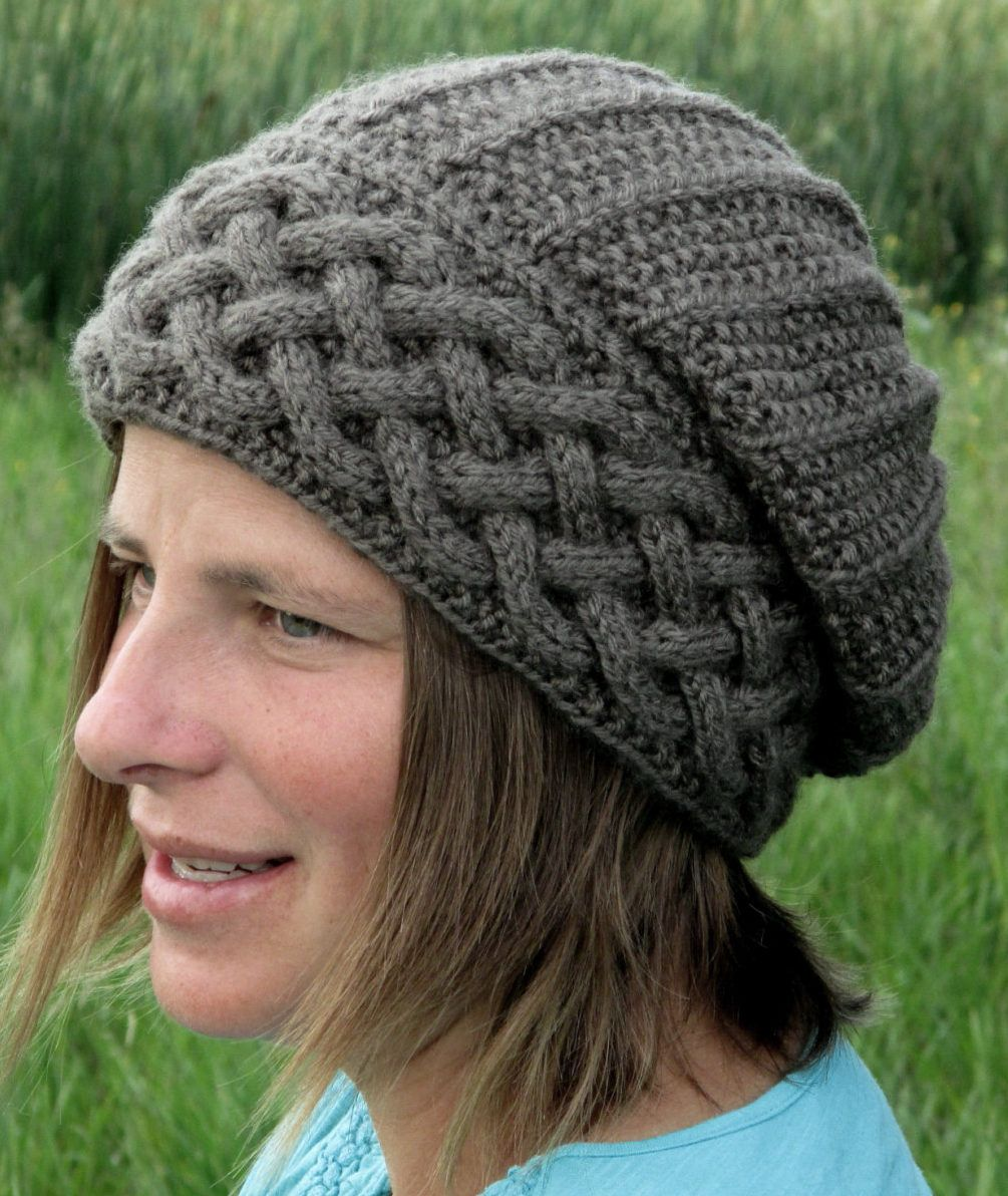 83eb761b220 Knitting Pattern for Song of Peace Hat - Slouchy hat features a cable brim.  Sizes included for 6 years to adult.