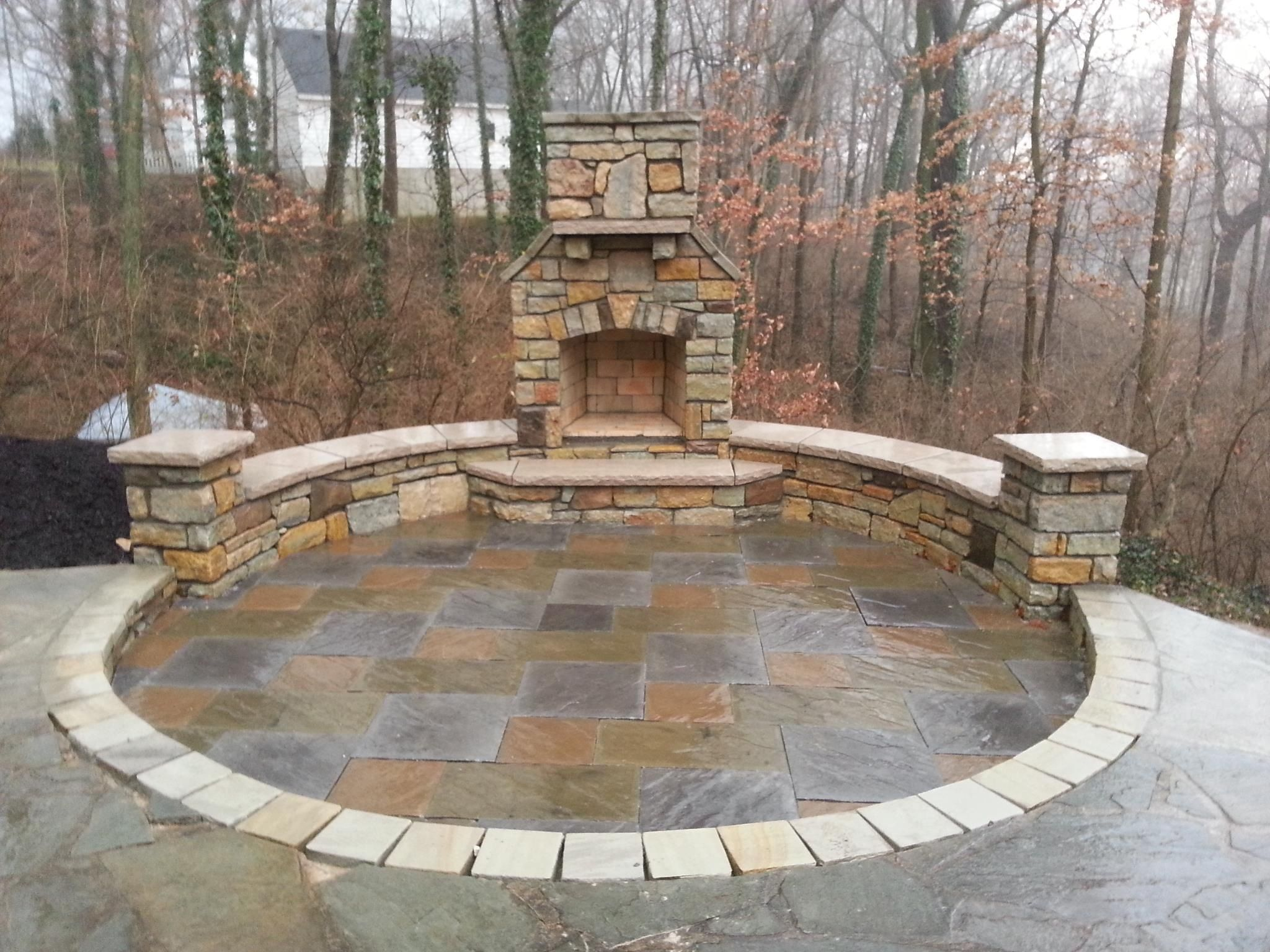 Paver Patio Natural Stone Seating Wall Outdoor