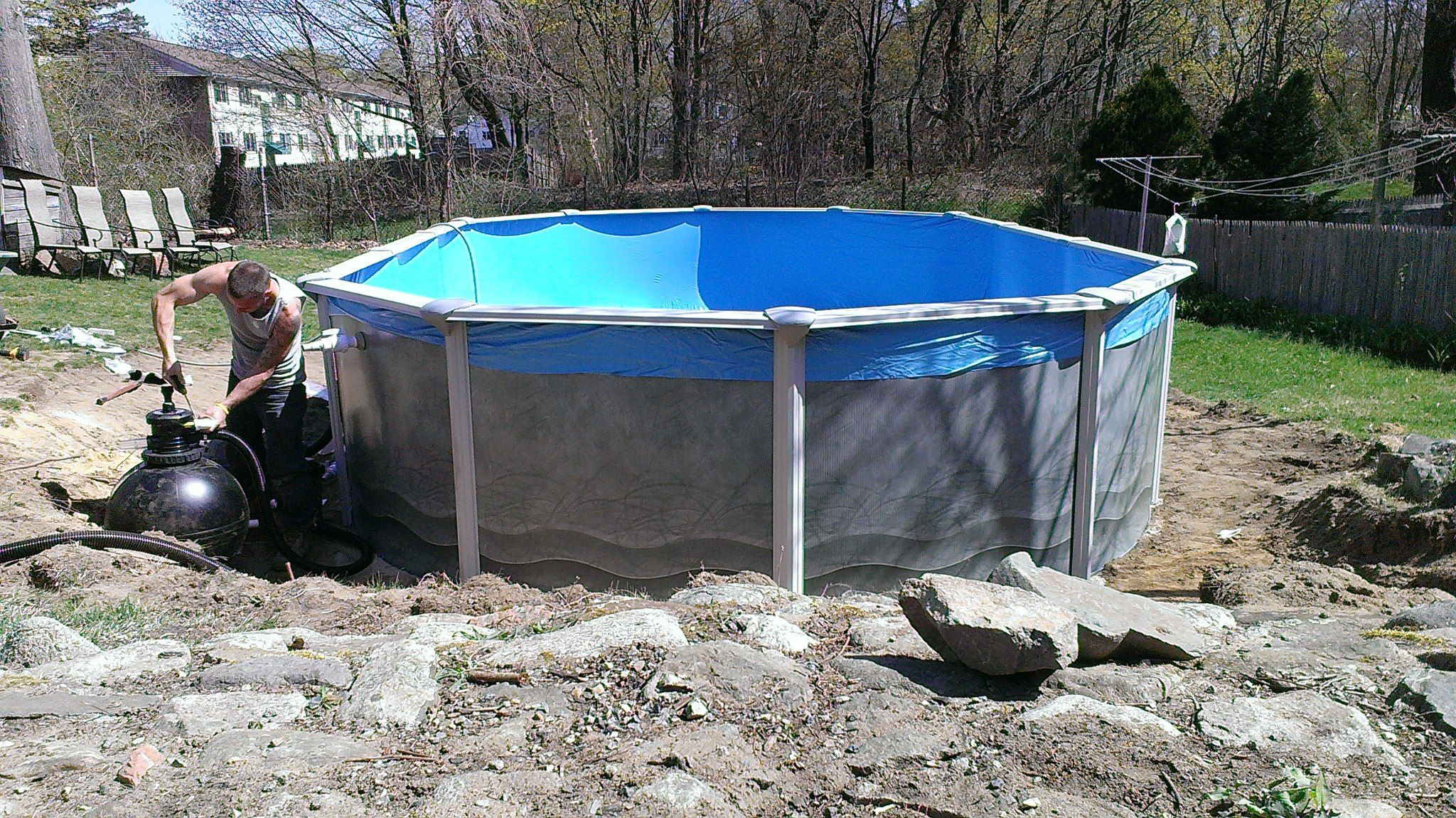 15ft x 25ft installation in ipswich ma this was an old for Above ground pool installation