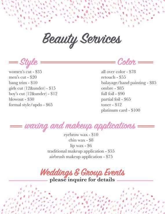 Salon Services Menu Template Salon Services Menu Template Salons