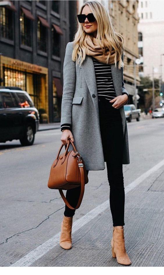 Cute Grey Coat And Brown Bag Winter Outfits Women Fashion Autumn Fashion