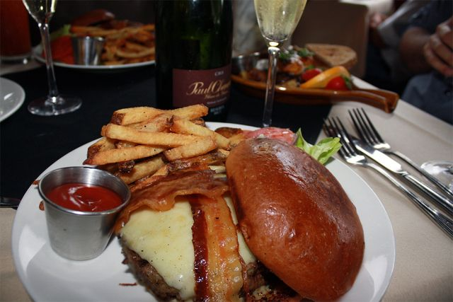 Burgers and Champagne from The Grape... still one of the best burgers in Dallas.