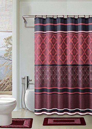 Crimson Red Black 15piece Bathroom Accessory Set 2 Bath Mats Shower Curtain 12 Fabric Covere Bathroom Accessories Sets Bathroom Accessories Bathroom Rug Sets