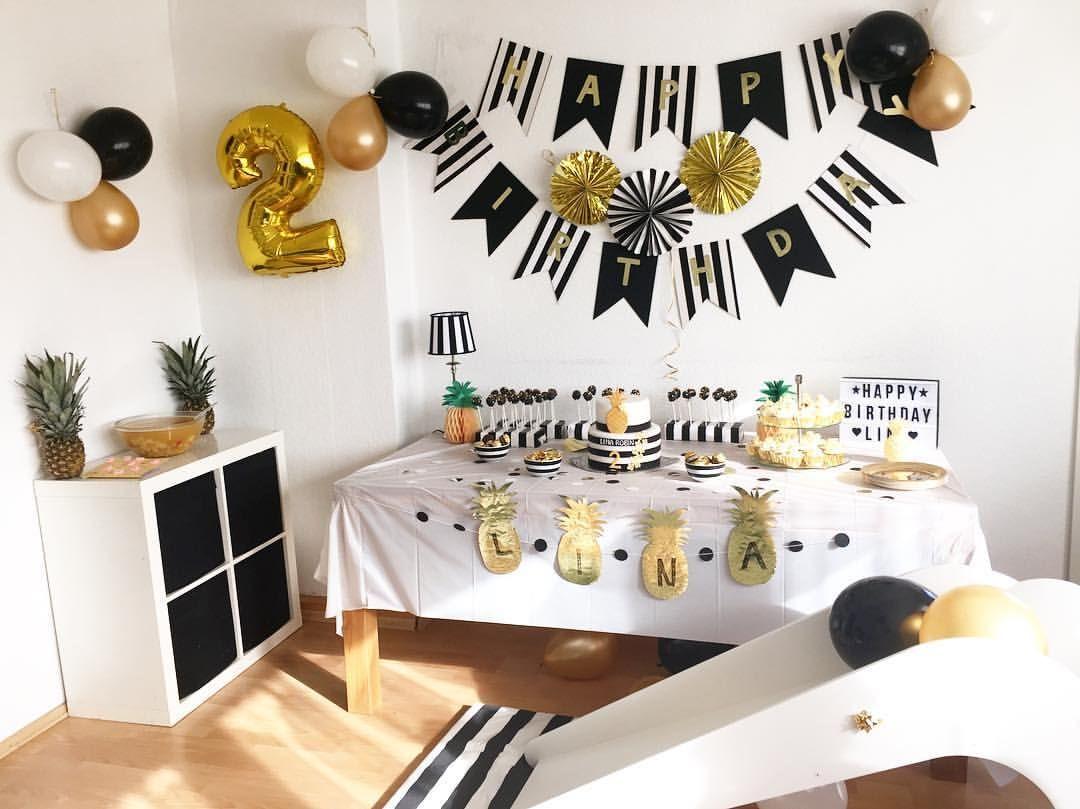 ananas party schwarz wei gold pineapple black white lilaaeuglein lilaaeuglein auf. Black Bedroom Furniture Sets. Home Design Ideas