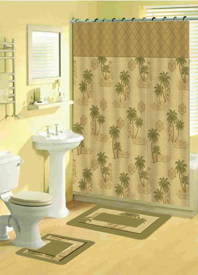 Tropical Shower Curtains Tropical Floral Bathroom Shower Curtain - Sage bath rug for bathroom decorating ideas