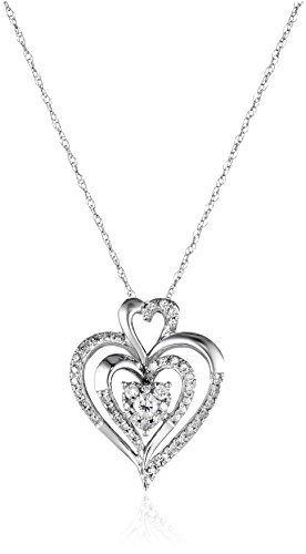 10k White Gold Diamond Heart Pendant Necklace 1 4 Cttw I J Color I2 I3 Clarity Diamond Heart Pendant Necklace Diamond Necklace Designs Heart Shaped Jewelry