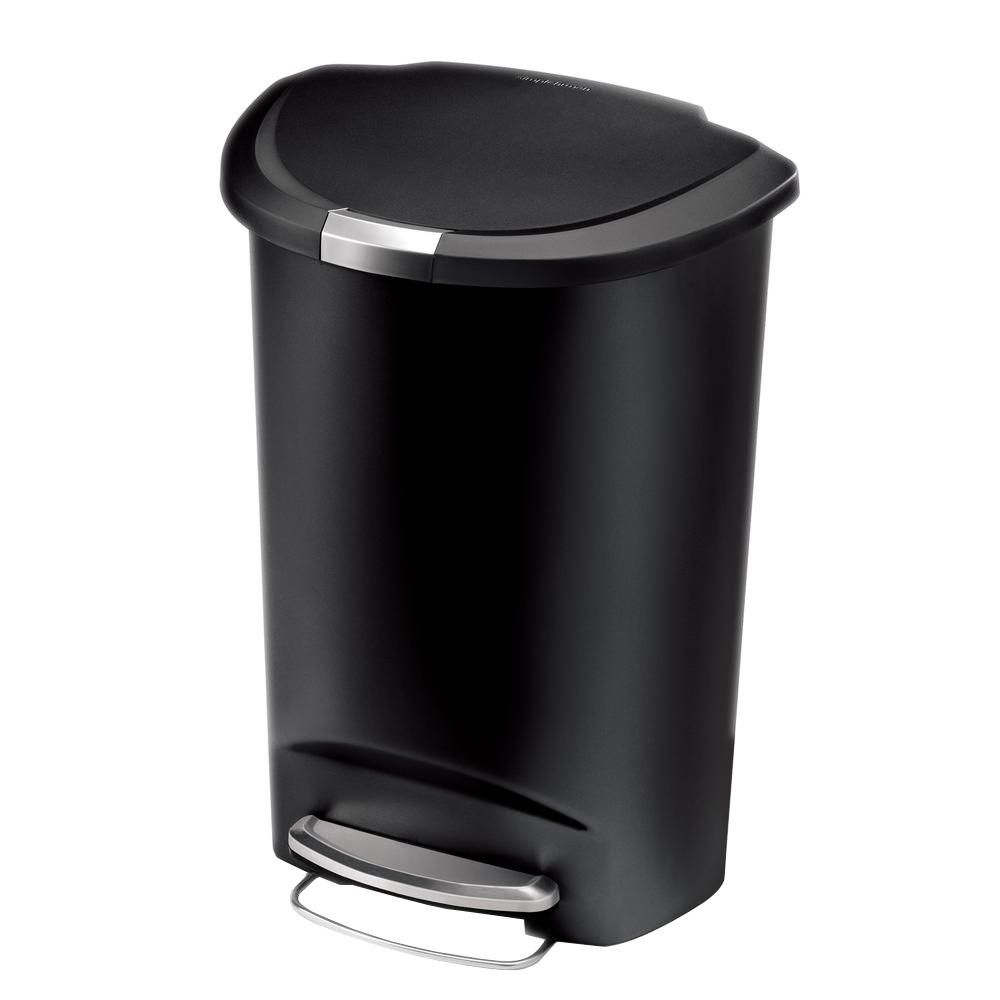 Simplehuman 50 Liter Semi Round Black Plastic Step On Trash Can In 2020 Kitchen Trash Cans Simplehuman Trash Can