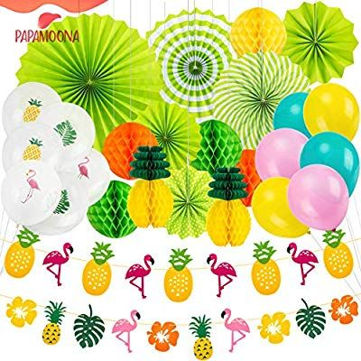 Amazon.com: PAPAMOONA Hawaiian Luau Beach Party Decorations SET with 12 Tropical Pineapple Flamingo Banner Balloons Hanging Paper Fans: Toys & Games #hawaiianluauparty