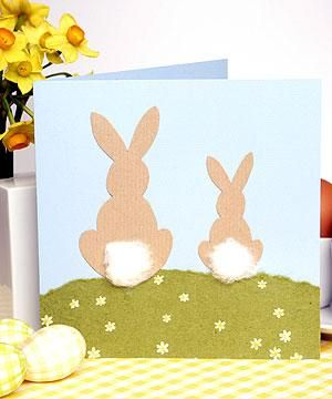 Free Kids Easter Paper Crafts Easter Bunnies Greetings Card How To