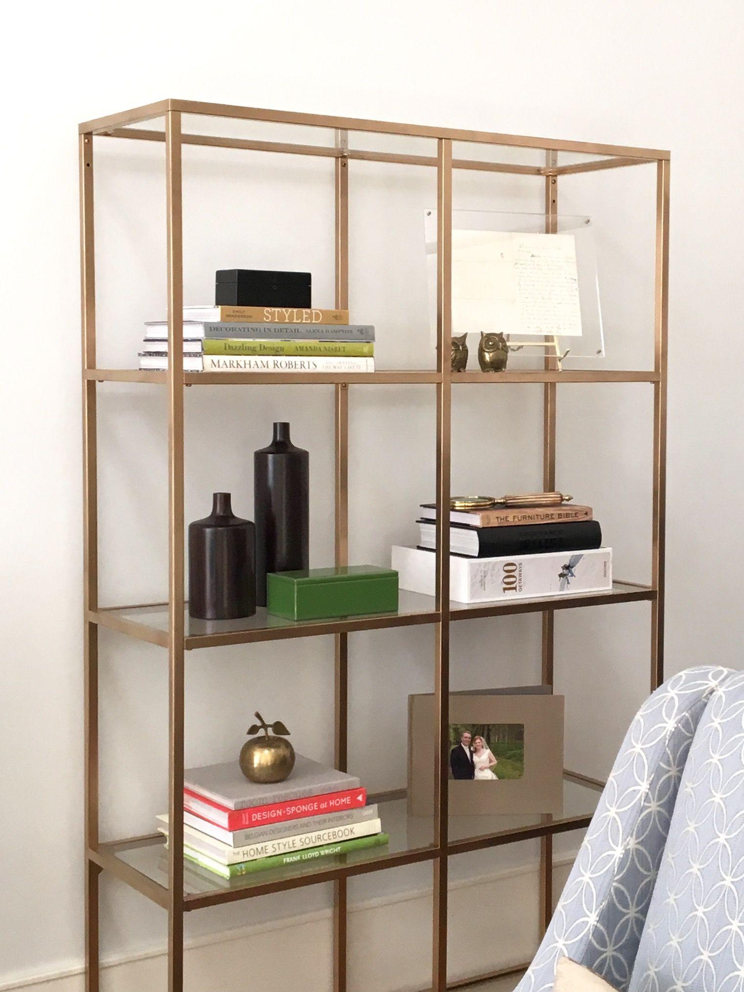 Diy Project Ikea Hack Faux Brass Bookshelf Glass Bookshelves