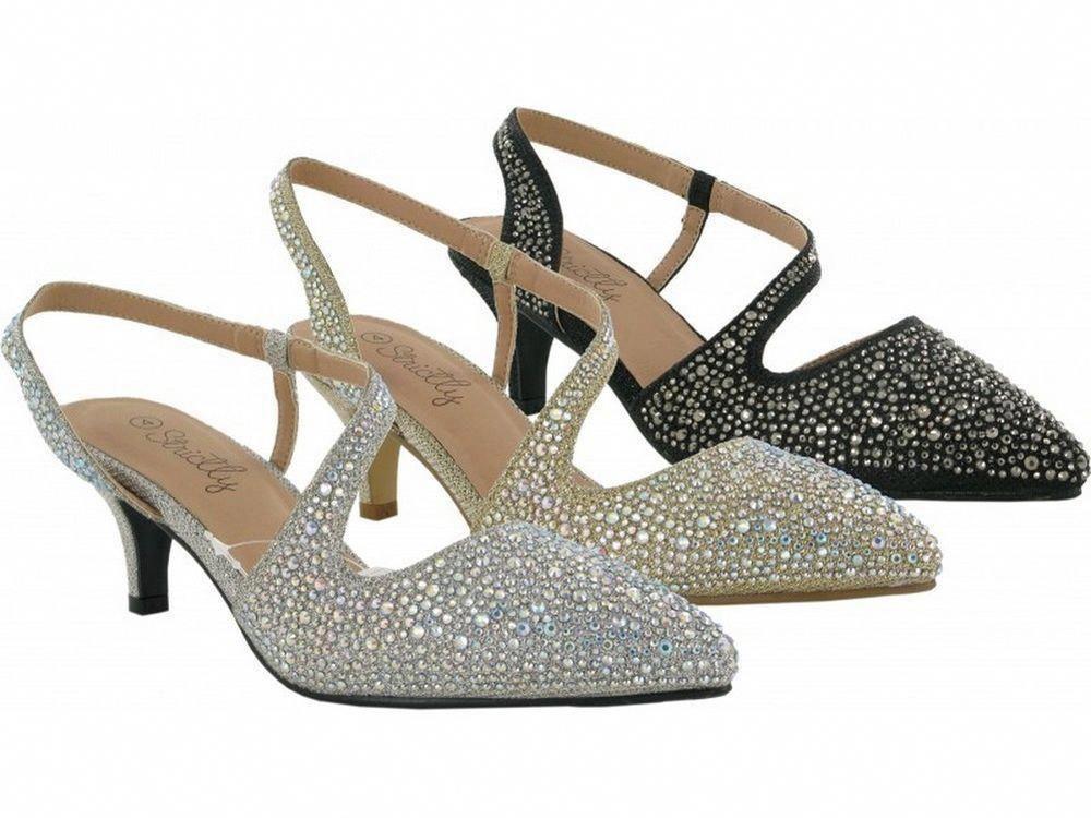 99cbdaaf20d7 Ladies Women s New Prom Wedding Diamond Sandal Low Mid Kitten Heels Silver  Gold Price  £29.99  Promheels