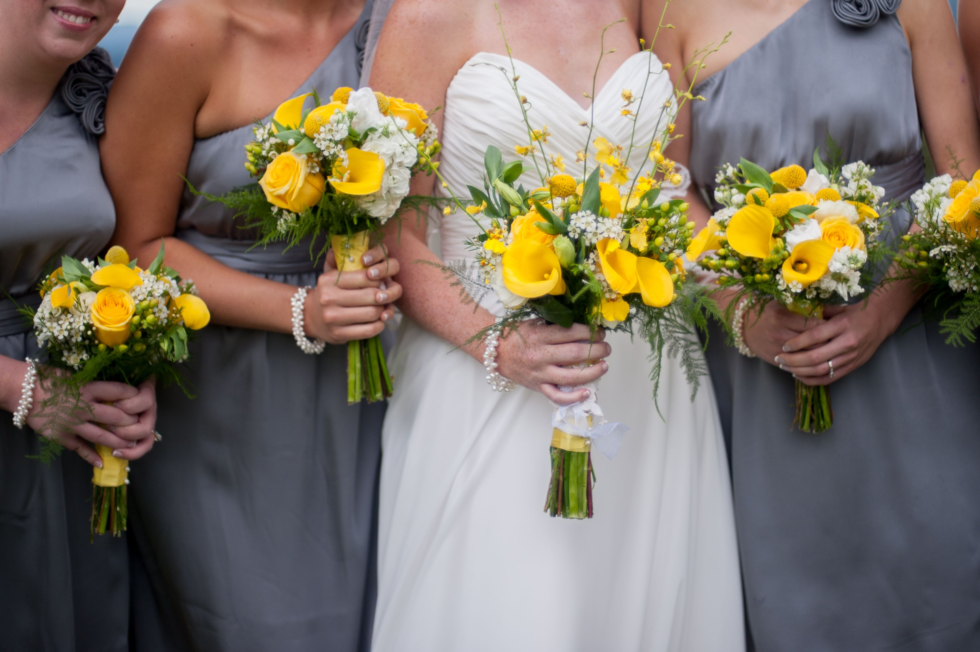 Yellow flowers with grey bridesmaids dresses bridal flowers yellow flowers with grey bridesmaids dresses ombrellifo Image collections