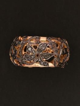 Pomellato 18KT Rose Gold Black Diamond Eternity Ring from the Arabesque Collection. Available at London Jewelers!