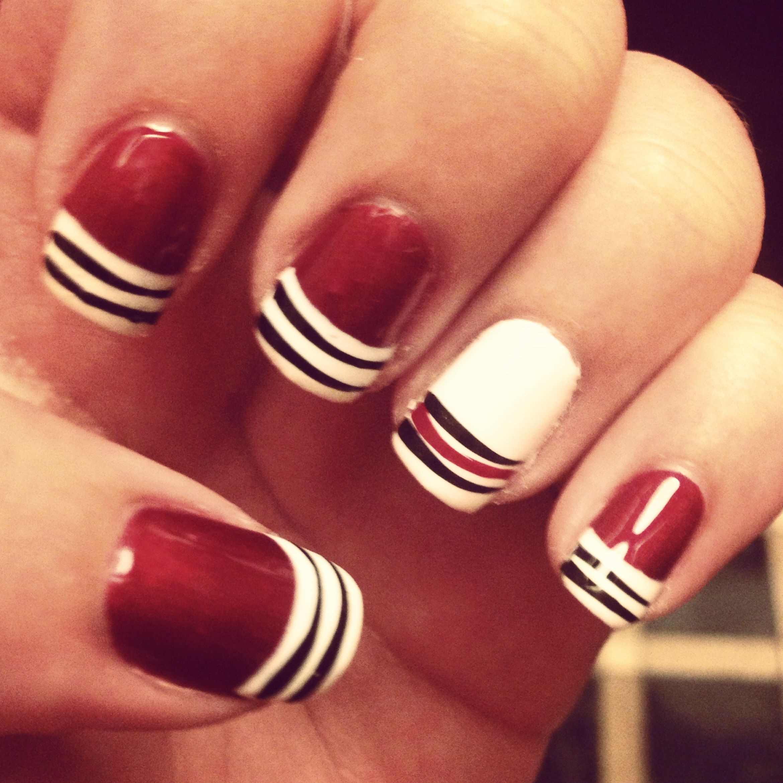 Blackhawks no-chip manicure :) - My Style | Pinterest
